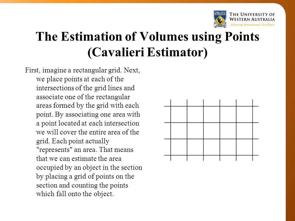The Estimation of Volumes using Points (Cavalieri Estimator) First, imagine a rectangular grid.