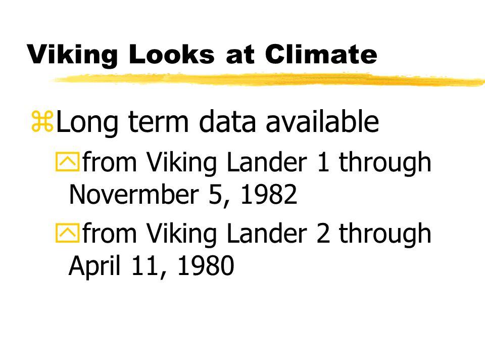 Viking Looks at Climate zLong term data available yfrom Viking Lander 1 through Novermber 5, 1982 yfrom Viking Lander 2 through April 11, 1980