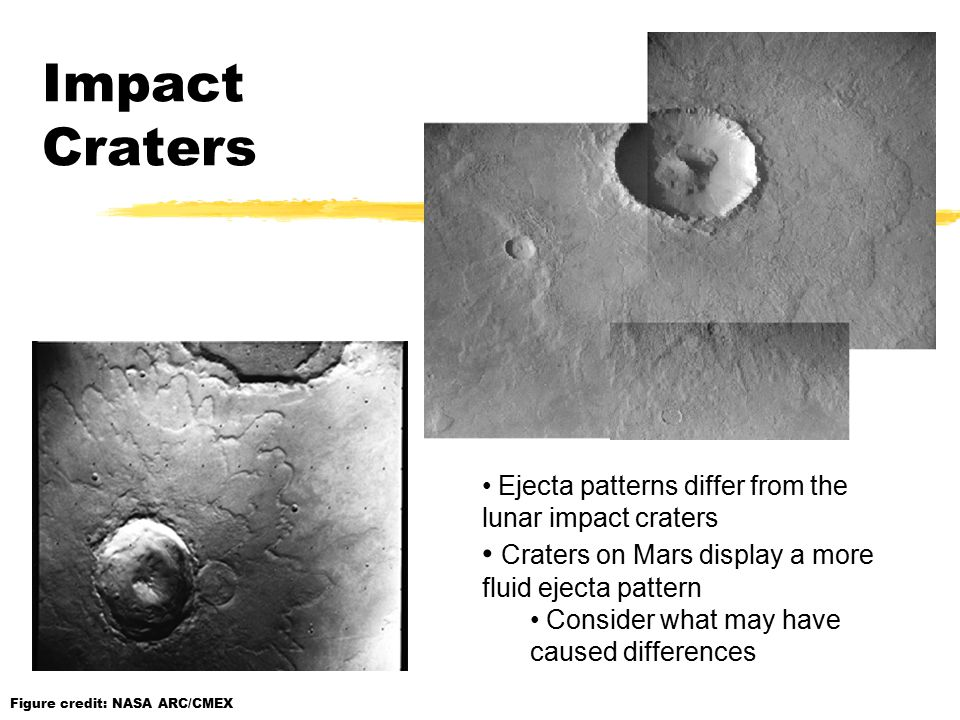 Ejecta patterns differ from the lunar impact craters Craters on Mars display a more fluid ejecta pattern Consider what may have caused differences Figure credit: NASA ARC/CMEX Impact Craters
