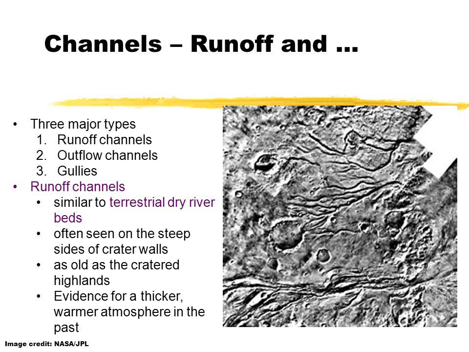 Channels – Runoff and … Image credit: NASA/JPL Three major types 1.