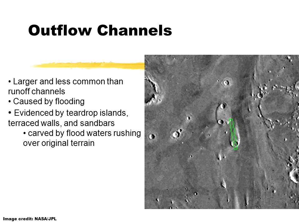Outflow Channels Larger and less common than runoff channels Caused by flooding Evidenced by teardrop islands, terraced walls, and sandbars carved by flood waters rushing over original terrain Image credit: NASA/JPL