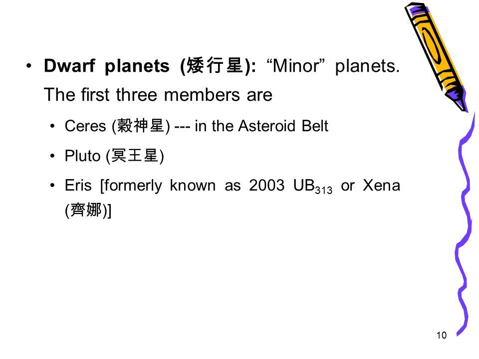 10 Dwarf planets ( 矮行星 ): Minor planets.