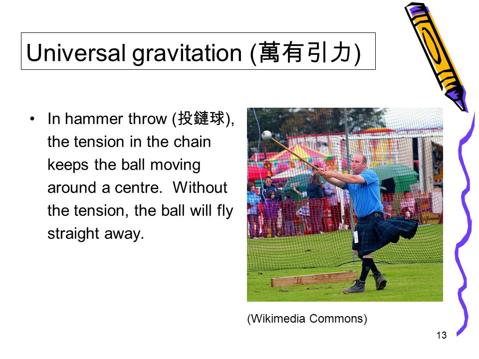13 Universal gravitation ( 萬有引力 ) In hammer throw ( 投鏈球 ), the tension in the chain keeps the ball moving around a centre.
