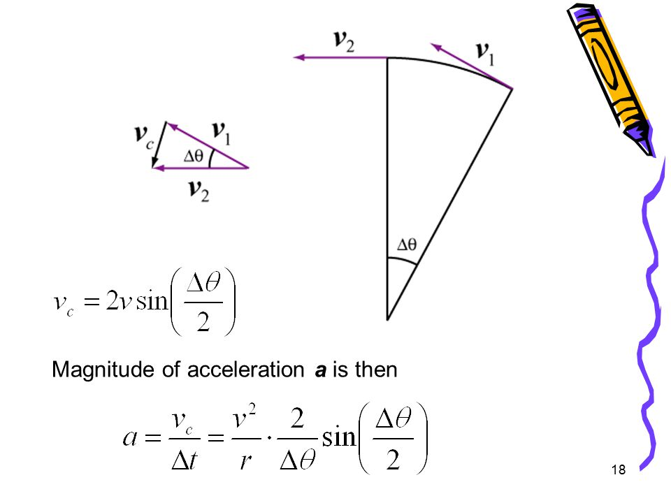 18 Magnitude of acceleration a is then