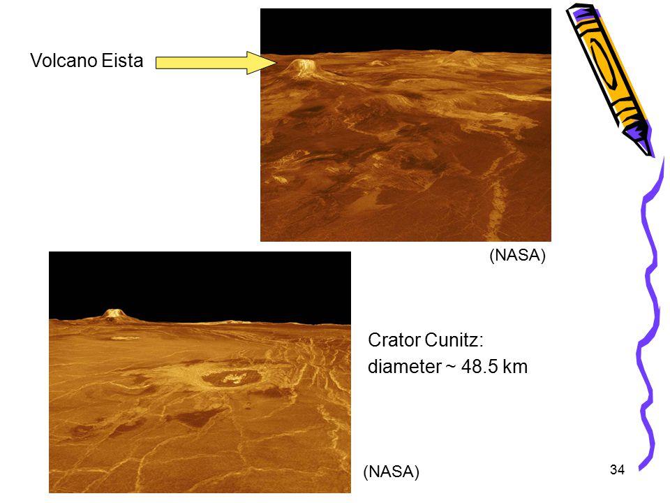 34 Volcano Eista Crator Cunitz: diameter ~ 48.5 km (NASA)