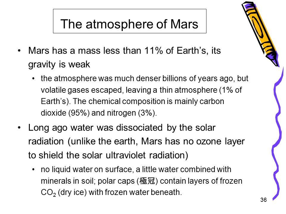 36 Mars has a mass less than 11% of Earth's, its gravity is weak the atmosphere was much denser billions of years ago, but volatile gases escaped, leaving a thin atmosphere (1% of Earth's).