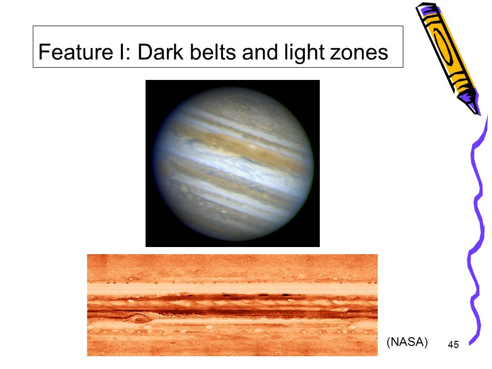 45 Feature I: Dark belts and light zones (NASA)