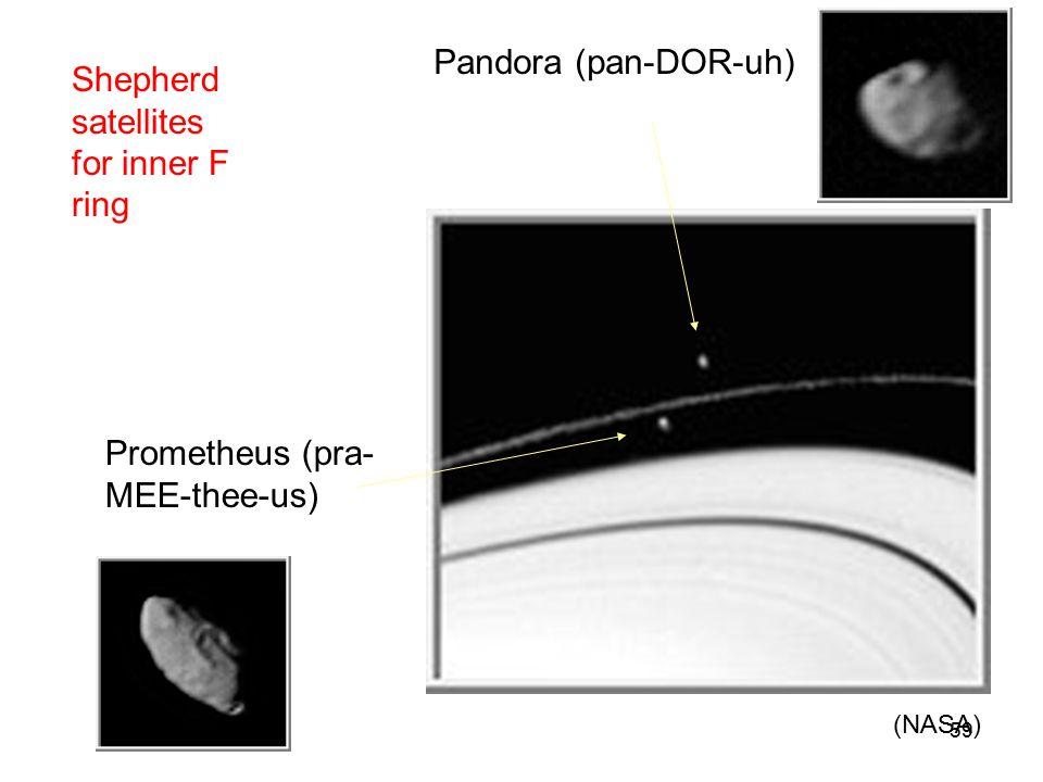 Shepherd satellites for inner F ring Pandora (pan-DOR-uh) Prometheus (pra- MEE-thee-us) (NASA) 59