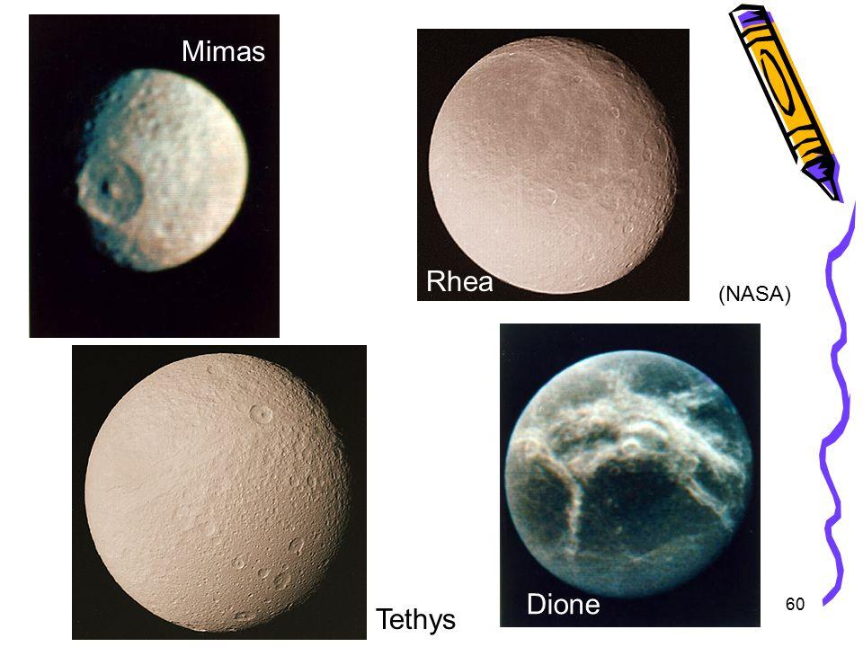 60 Mimas Rhea Dione Tethys (NASA)