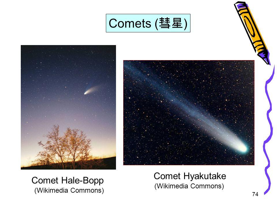 74 Comet Hale-Bopp Comets ( 彗星 ) Comet Hyakutake (Wikimedia Commons)