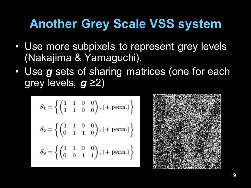 19 Another Grey Scale VSS system Use more subpixels to represent grey levels (Nakajima & Yamaguchi). Use g sets of sharing matrices (one for each grey