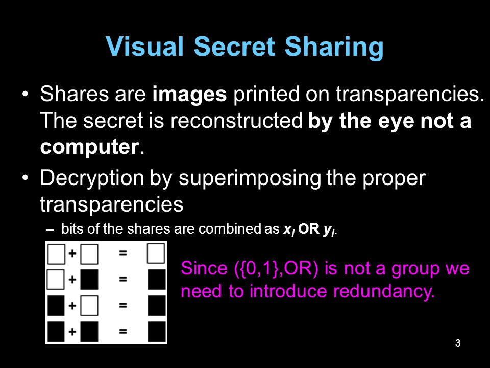 3 Visual Secret Sharing Shares are images printed on transparencies. The secret is reconstructed by the eye not a computer. Decryption by superimposin