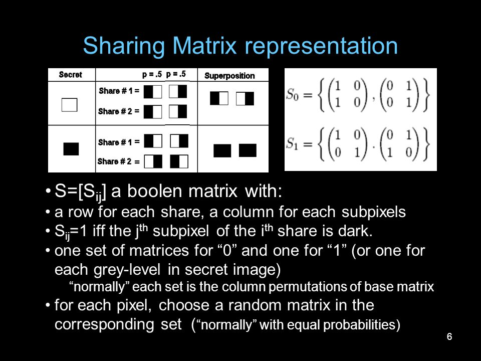 6 Sharing Matrix representation S=[S ij ] a boolen matrix with: a row for each share, a column for each subpixels S ij =1 iff the j th subpixel of the