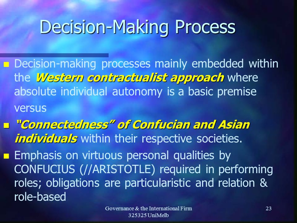 Governance & the International Firm 325325 UniMelb 23 Decision-Making Process n Western contractualist approach n Decision-making processes mainly embedded within the Western contractualist approach where absolute individual autonomy is a basic premise versus n Connectedness of Confucian and Asian individuals n Connectedness of Confucian and Asian individuals within their respective societies.