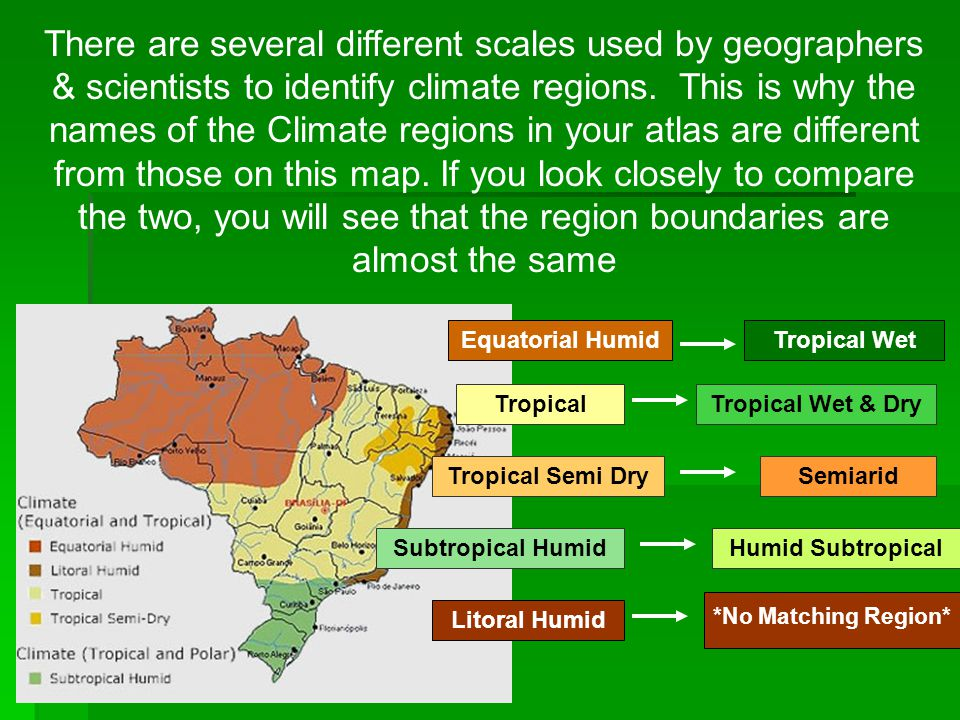 There are several different scales used by geographers & scientists to identify climate regions. This is why the names of the Climate regions in your