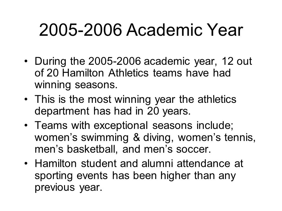 Sample Presentation Hamilton Athletic Stats Board of Trustees Prospective Students Seasons, Sports Wins & Losses