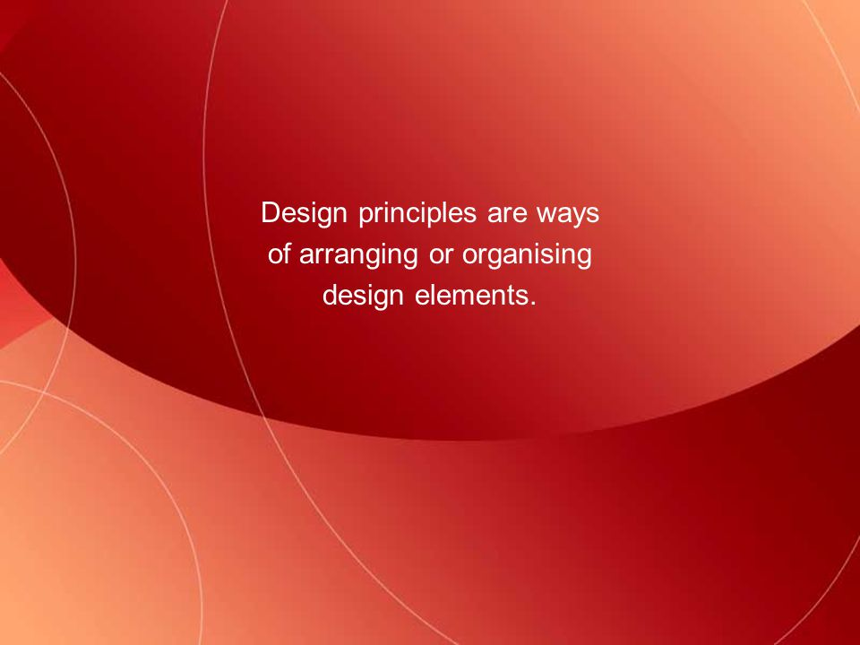Design principles - Space The relative sizes of objects in space are worked out using a system involving lines receding to a vanishing point.