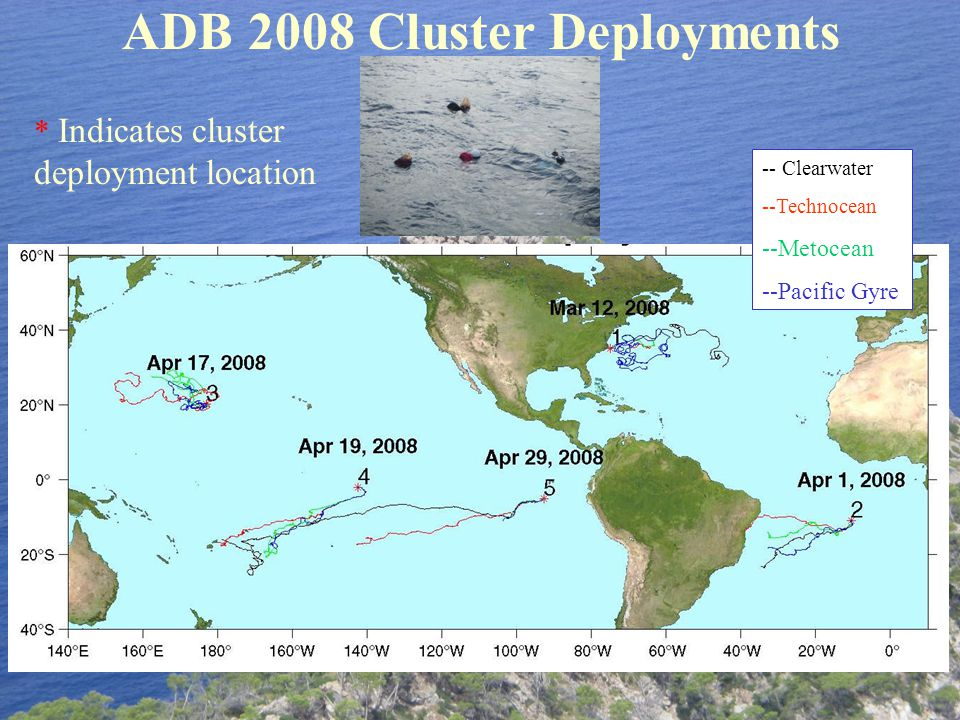 ADB 2008 Cluster Deployments -- Clearwater --Technocean --Metocean --Pacific Gyre * Indicates cluster deployment location