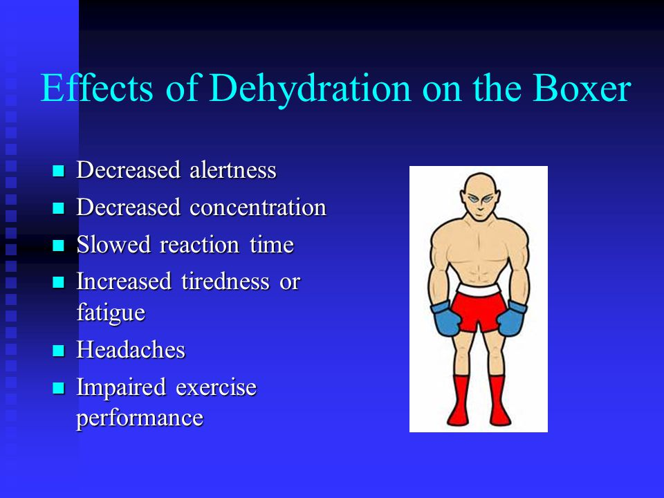 Tests for Dehydration n Tenting of the skin (the skin remains elevated after being pulled up and released)