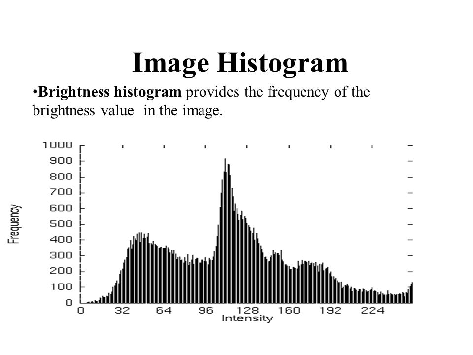 Image Histogram Brightness histogram provides the frequency of the brightness value in the image.