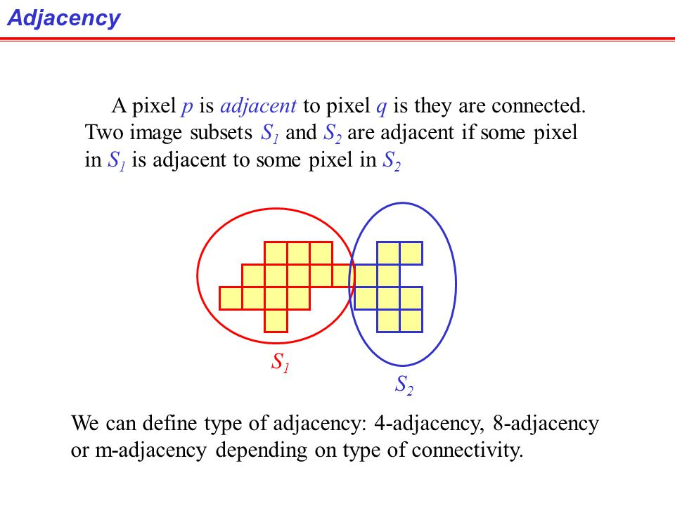 Connectivity Connectivity is adapted from neighborhood relation. Two pixels are connected if they are in the same class (i.e. the same color or the sa