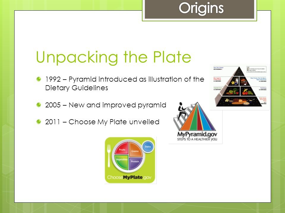 Unpacking the Plate 1992 – Pyramid introduced as illustration of the Dietary Guidelines 2005 – New and improved pyramid 2011 – Choose My Plate unveiled
