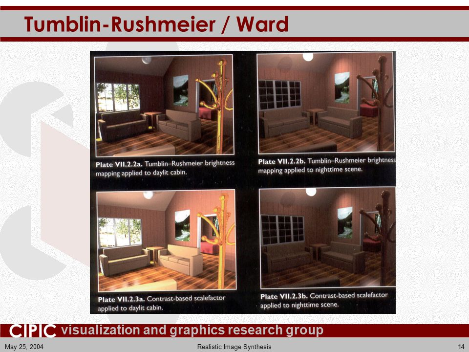 visualization and graphics research group CIPIC May 25, 2004Realistic Image Synthesis14 Tumblin-Rushmeier / Ward
