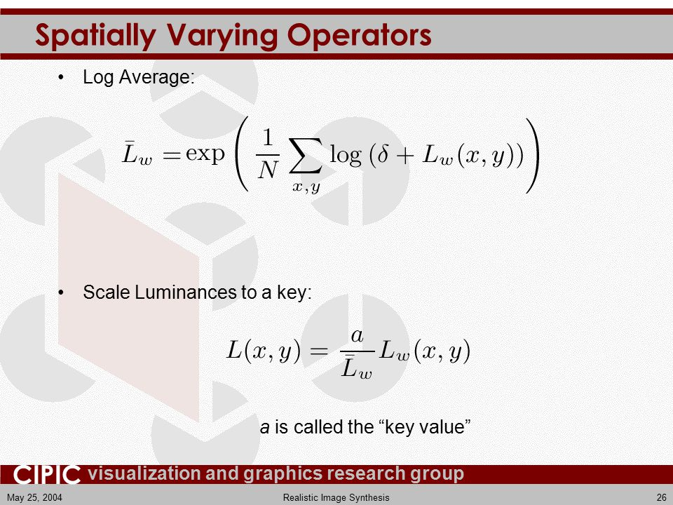 visualization and graphics research group CIPIC May 25, 2004Realistic Image Synthesis26 Spatially Varying Operators Log Average: Scale Luminances to a key: a is called the key value