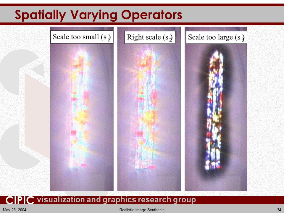 visualization and graphics research group CIPIC May 25, 2004Realistic Image Synthesis34 Spatially Varying Operators