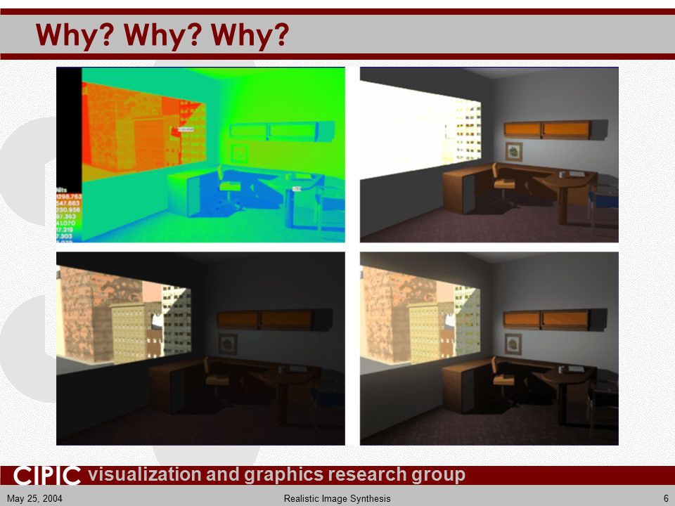 visualization and graphics research group CIPIC May 25, 2004Realistic Image Synthesis37
