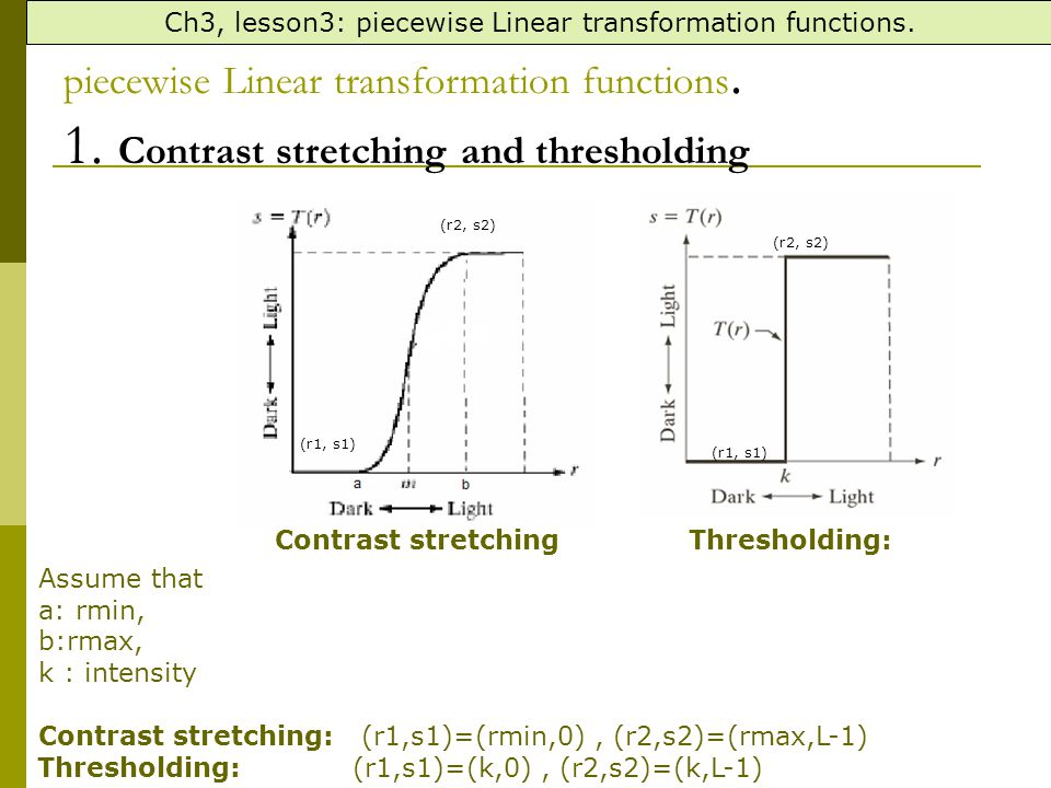 Ch3, lesson3: piecewise Linear transformation functions. Assume that a: rmin, b:rmax, k : intensity Contrast stretching: (r1,s1)=(rmin,0), (r2,s2)=(rm