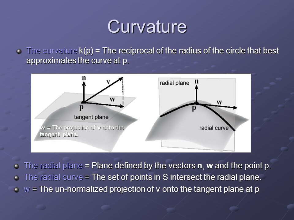 Curvature The curvature k(p) = The reciprocal of the radius of the circle that best approximates the curve at p. The radial plane = Plane defined by t