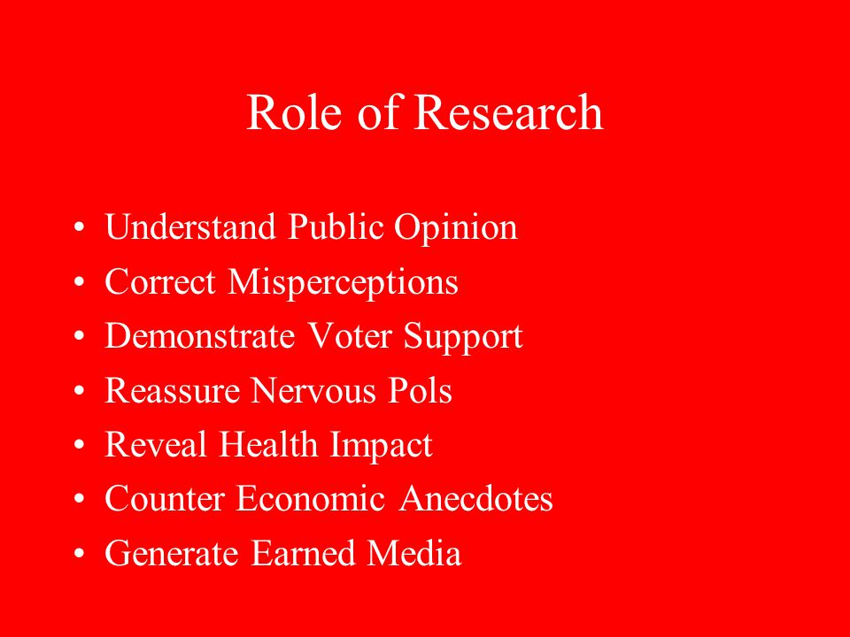 Role of Research Understand Public Opinion Correct Misperceptions Demonstrate Voter Support Reassure Nervous Pols Reveal Health Impact Counter Economic Anecdotes Generate Earned Media