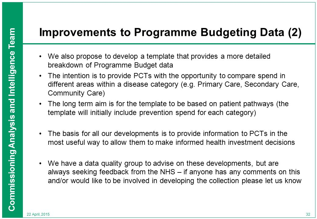 Commissioning Analysis and Intelligence Team 32 22 April, 2015 Improvements to Programme Budgeting Data (2) We also propose to develop a template that provides a more detailed breakdown of Programme Budget data The intention is to provide PCTs with the opportunity to compare spend in different areas within a disease category (e.g.