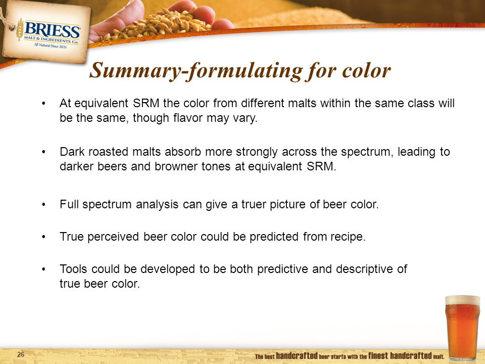 26 Summary-formulating for color Full spectrum analysis can give a truer picture of beer color.