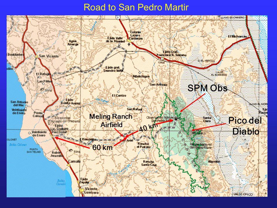 SPM Obs Pico del Diablo Meling Ranch Airfield Road to San Pedro Martir 60 km 40 km