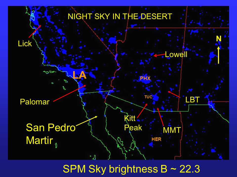 LBT Kitt Peak Lick Palomar MMT Lowell NIGHT SKY IN THE DESERT SPM Sky brightness B ~ 22.3 mag/sec 2 PHX LA TUC HER N San Pedro Martir