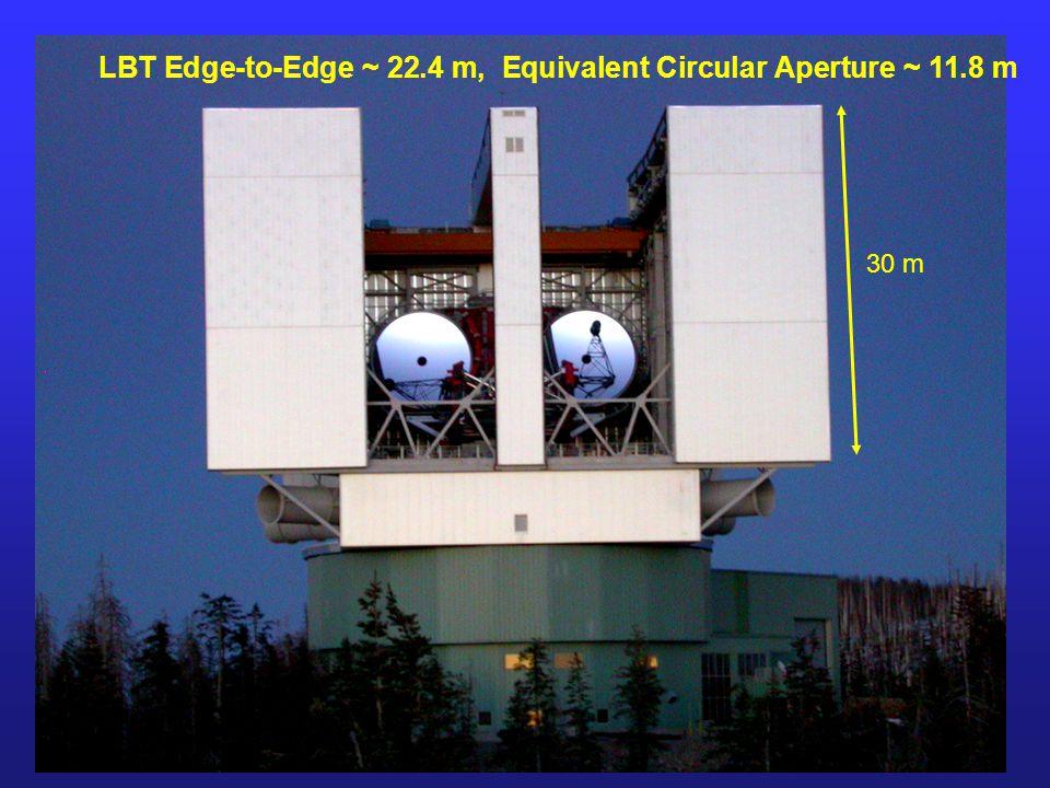 LBT Edge-to-Edge ~ 22.4 m, Equivalent Circular Aperture ~ 11.8 m 30 m