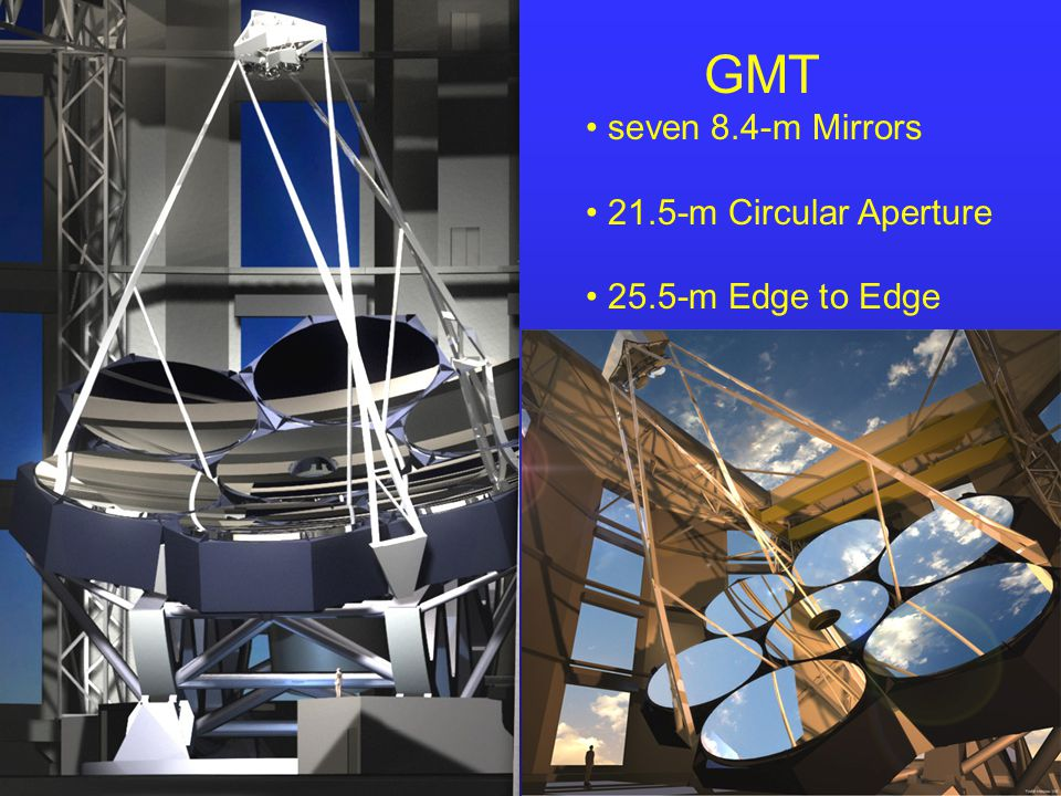 GMT seven 8.4-m Mirrors 21.5-m Circular Aperture 25.5-m Edge to Edge Graphics by Todd Mason