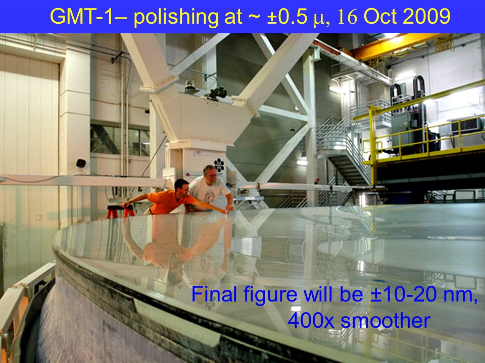 GMT-1– polishing at ~ ± 0.5  Oct 2009 Final figure will be ±10-20 nm, 400x smoother