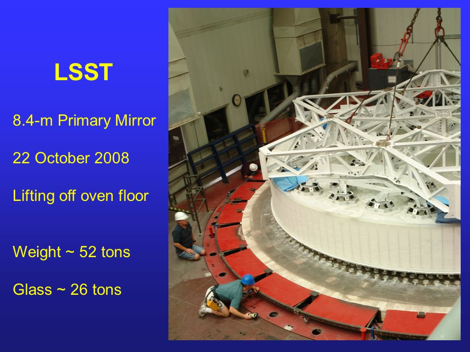 LSST 8.4-m Primary Mirror 22 October 2008 Lifting off oven floor Weight ~ 52 tons Glass ~ 26 tons