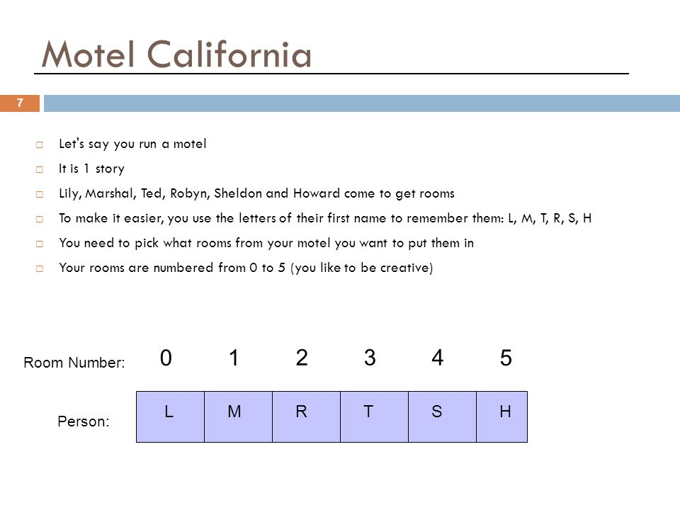 Hotel California 7 01 234 5 LMRTSH  Let s say you run a motel  It is 1 story  Lily, Marshal, Ted, Robyn, Sheldon and Howard come to get rooms  To make it easier, you use the letters of their first name to remember them: L, M, T, R, S, H  You need to pick what rooms from your motel you want to put them in  Your rooms are numbered from 0 to 5 (you like to be creative) Room Number: Person: Motel California