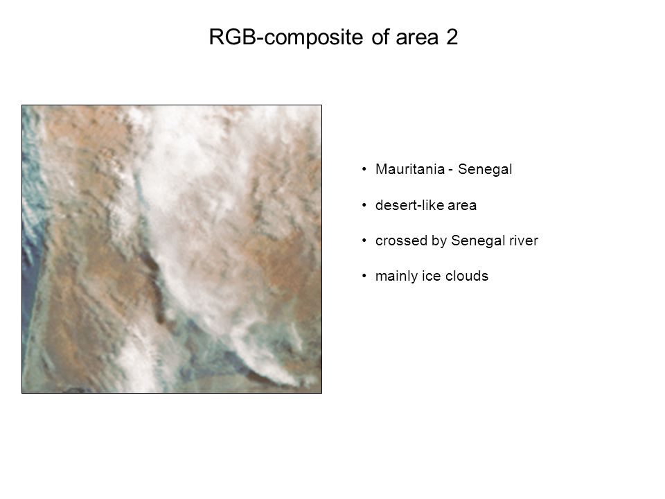 RGB-composite of area 2 Mauritania - Senegal desert-like area crossed by Senegal river mainly ice clouds