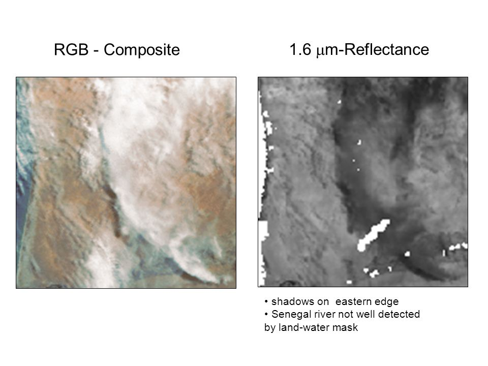 shadows on eastern edge Senegal river not well detected by land-water mask 1.6  m-Reflectance RGB - Composite