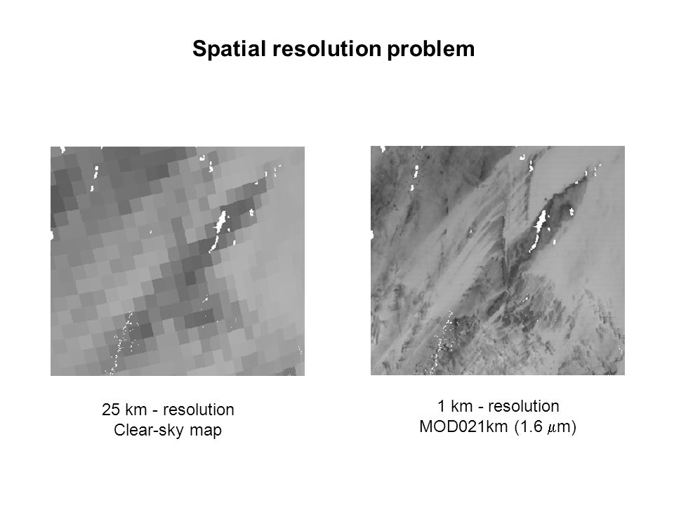 Spatial resolution problem 25 km - resolution Clear-sky map 1 km - resolution MOD021km (1.6  m)