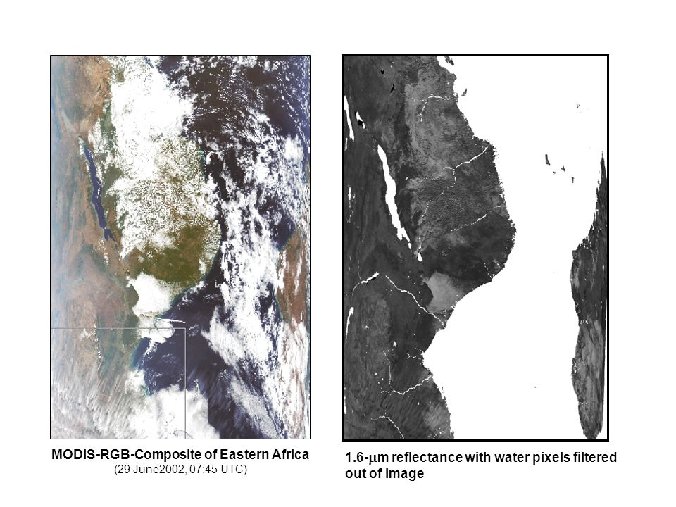 MODIS-RGB-Composite of Eastern Africa (29 June2002, 07:45 UTC) 1.6-  m reflectance with water pixels filtered out of image