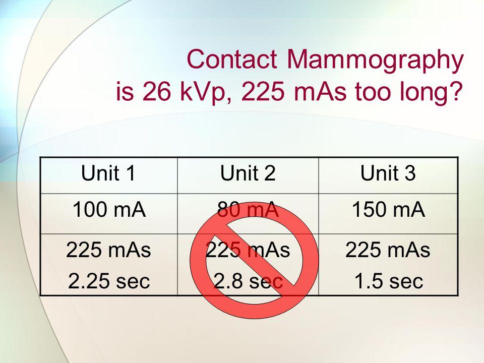 Contact Mammography is 26 kVp, 225 mAs too long.