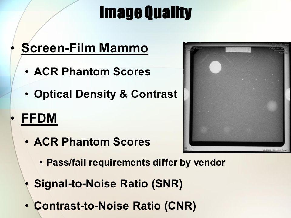 Screen-Film Mammo ACR Phantom Scores Optical Density & Contrast FFDM ACR Phantom Scores Pass/fail requirements differ by vendor Signal-to-Noise Ratio (SNR) Contrast-to-Noise Ratio (CNR) Image Quality