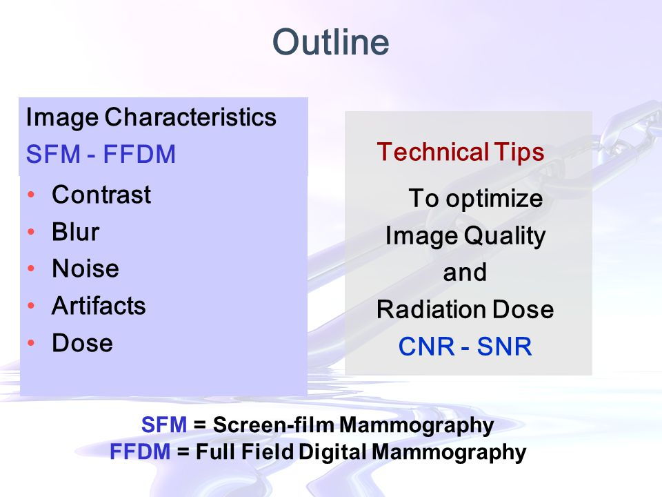 Outline Contrast Blur Noise Artifacts Dose Image Characteristics SFM - FFDM To optimize Image Quality and Radiation Dose CNR - SNR Technical Tips SFM = Screen-film Mammography FFDM = Full Field Digital Mammography