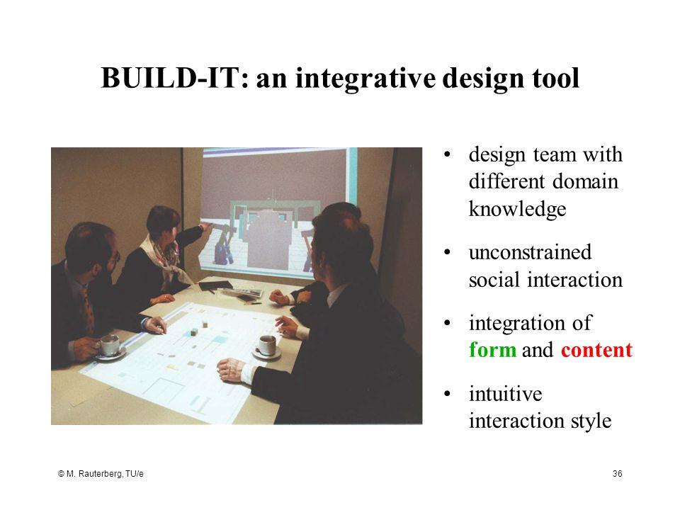 © M. Rauterberg, TU/e36 BUILD-IT: an integrative design tool design team with different domain knowledge unconstrained social interaction integration